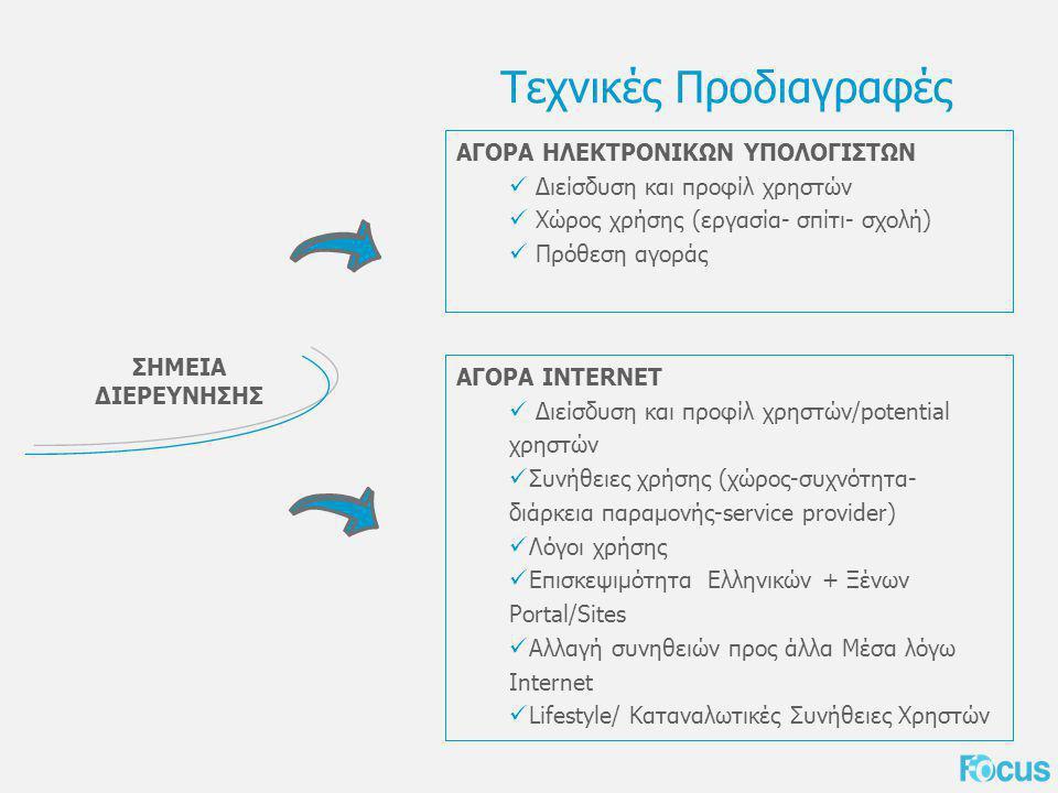 Τεχνικές Προδιαγραφές ΣΗΜΕΙΑ ΔΙΕΡΕΥΝΗΣΗΣ ΑΓΟΡΑ ΗΛΕΚΤΡΟΝΙΚΩΝ ΥΠΟΛΟΓΙΣΤΩΝ Διείσδυση και προφίλ χρηστών Χώρος χρήσης (εργασία- σπίτι- σχολή) Πρόθεση αγοράς ΑΓΟΡΑ INTERNET Διείσδυση και προφίλ χρηστών/potential χρηστών Συνήθειες χρήσης (χώρος-συχνότητα- διάρκεια παραμονής-service provider) Λόγοι χρήσης Επισκεψιμότητα Ελληνικών + Ξένων Portal/Sites Αλλαγή συνηθειών προς άλλα Μέσα λόγω Internet Lifestyle/ Καταναλωτικές Συνήθειες Χρηστών