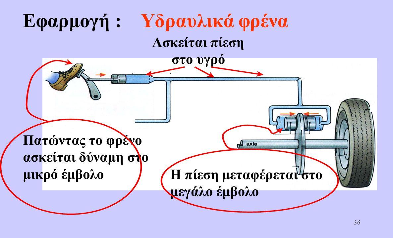 35 Άσκηση (σελ 106:11) α) Η πίεση που ασκείται στο νερό είναι: β) Η δύναμη που ασκείται στο μεγάλο έμβολο είναι: