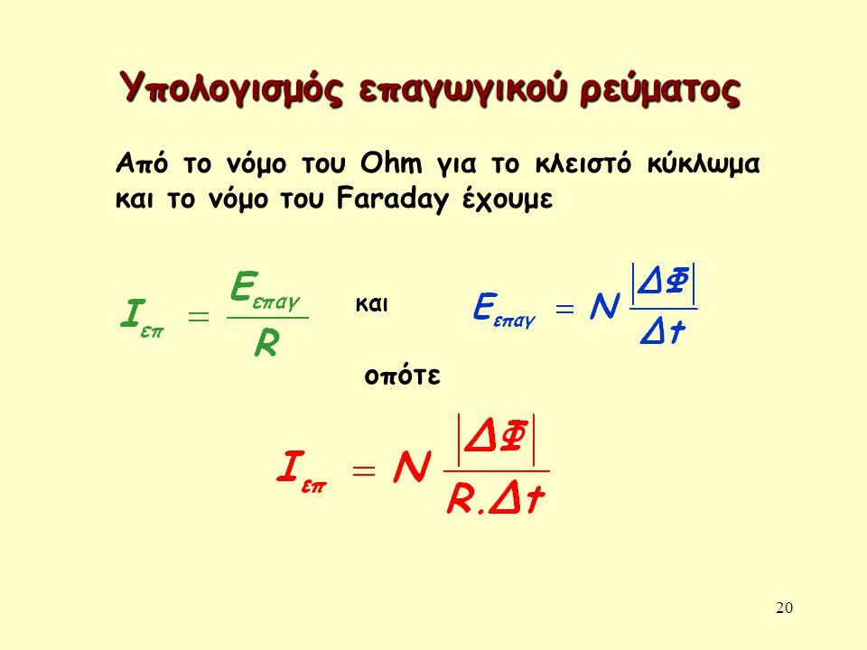 20 Υπολογισμός επαγωγικού ρεύματος Από το νόμο του Ohm για το κλειστό κύκλωμα και το νόμο του Faraday έχουμε και οπότε