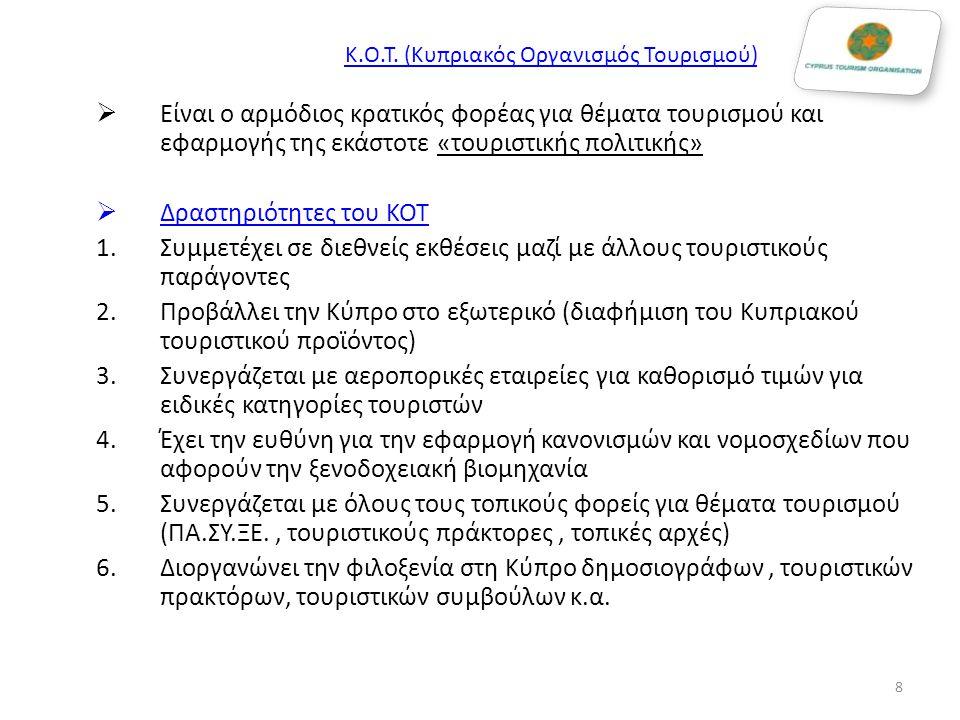 Κ.Ο.Τ. (Κυπριακός Οργανισμός Τουρισμού)  Είναι ο αρμόδιος κρατικός φορέας για θέματα τουρισμού και εφαρμογής της εκάστοτε «τουριστικής πολιτικής»  Δ