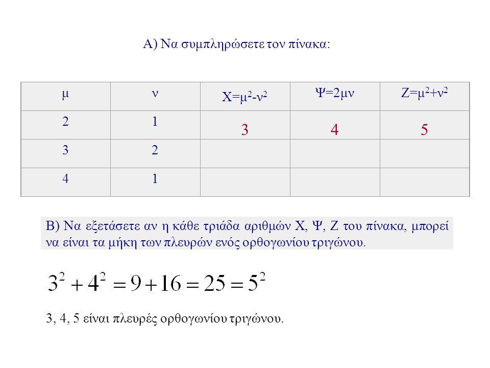 Α) Να συμπληρώσετε τον πίνακα: μν X=μ 2 -ν 2 Ψ=2μνΖ=μ 2 +ν 2 21 3 4 5 32 41 Β) Να εξετάσετε αν η κάθε τριάδα αριθμών Χ, Ψ, Ζ του πίνακα, μπορεί να είναι τα μήκη των πλευρών ενός ορθογωνίου τριγώνου.