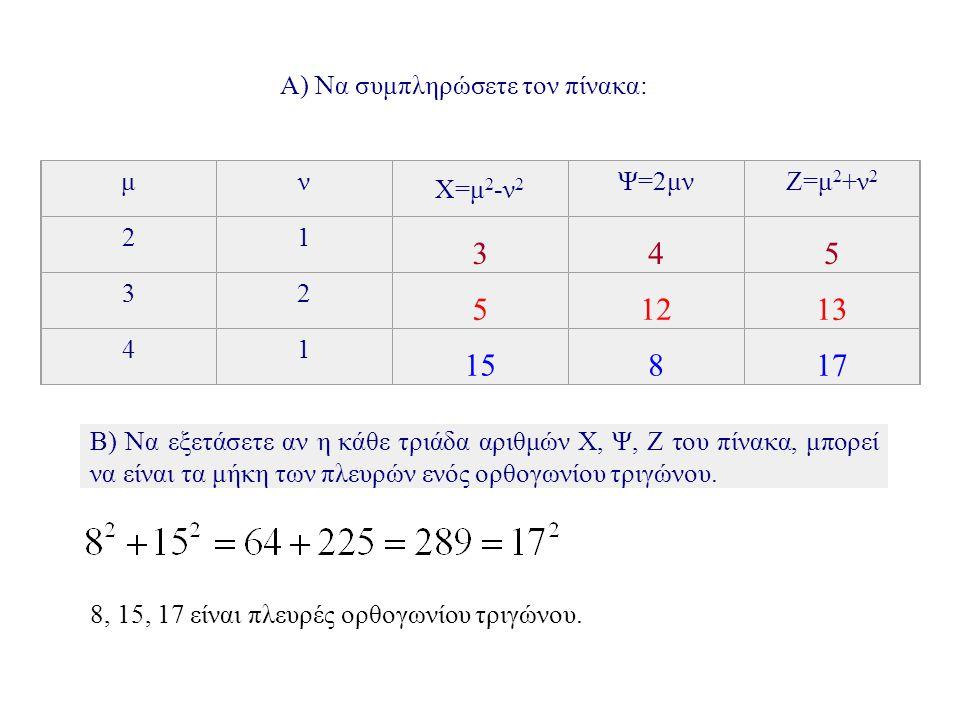 Γ) Να δημιουργήστε ένα δικό σας ορθογώνιο τρίγωνο.