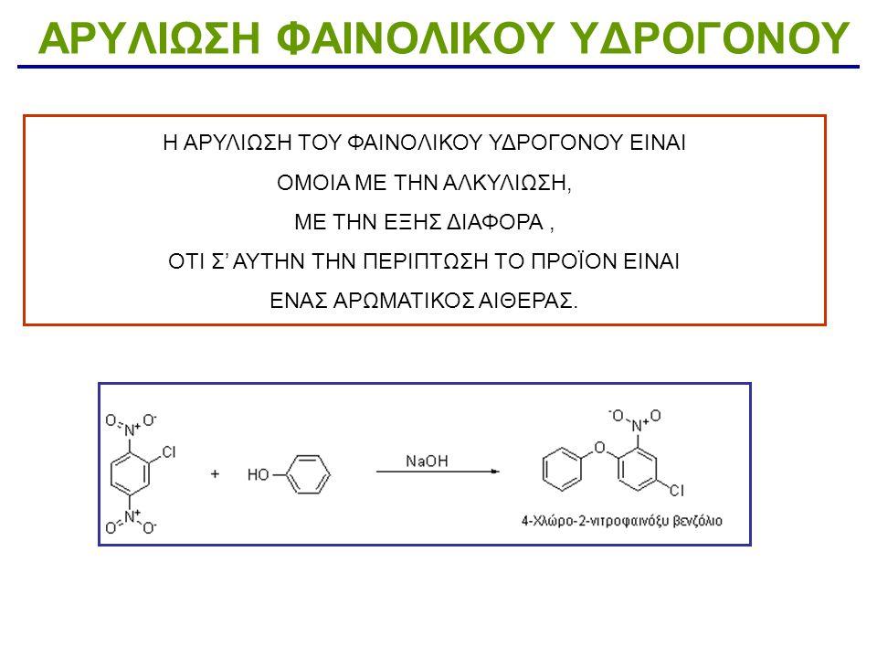 ΑΛΚΑΝΟΫΛΟ ΥΠΟΚΑΤΑΣΤΑΣΗ ΦΑΙΝΟΛΙΚΟΥ ΥΔΡΟΓΟΝΟΥ Η αντίδραση φαινολών με τα καρβοξυλικά οξέα προς παραγωγή εστέρων είναι ενδόθερμη και γι αυτό χρησιμοποιούνται στην εστεροποίηση αλκανόϋλο αλογονίδια ή καρβοξυλικοί ανυδρίτες.