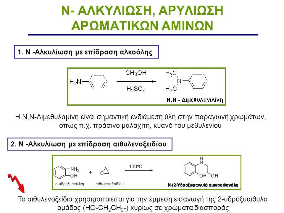 N- ΑΛΚΥΛΙΩΣΗ, ΑΡΥΛΙΩΣΗ ΑΡΩΜΑΤΙΚΩΝ ΑΜΙΝΩΝ 1. Ν -Αλκυλίωση με επίδραση αλκοόλης Η Ν,Ν-Διμεθυλαμίνη είναι σημαντική ενδιάμεση ύλη στην παραγωγή χρωμάτων,