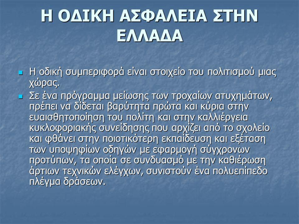 Στην Ελλάδα τα τελευταία χρόνια γίνονται προσπάθειες για την μείωση των Τροχαίων ατυχημάτων.