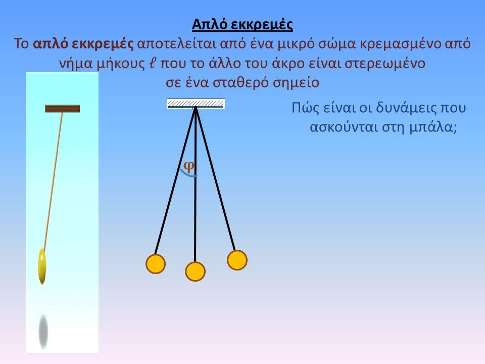 Απλό εκκρεμές Το απλό εκκρεμές αποτελείται από ένα μικρό σώμα κρεμασμένο από νήμα μήκους που το άλλο του άκρο είναι στερεωμένο σε ένα σταθερό σημείο φ Πώς είναι οι δυνάμεις που ασκούνται στη μπάλα;