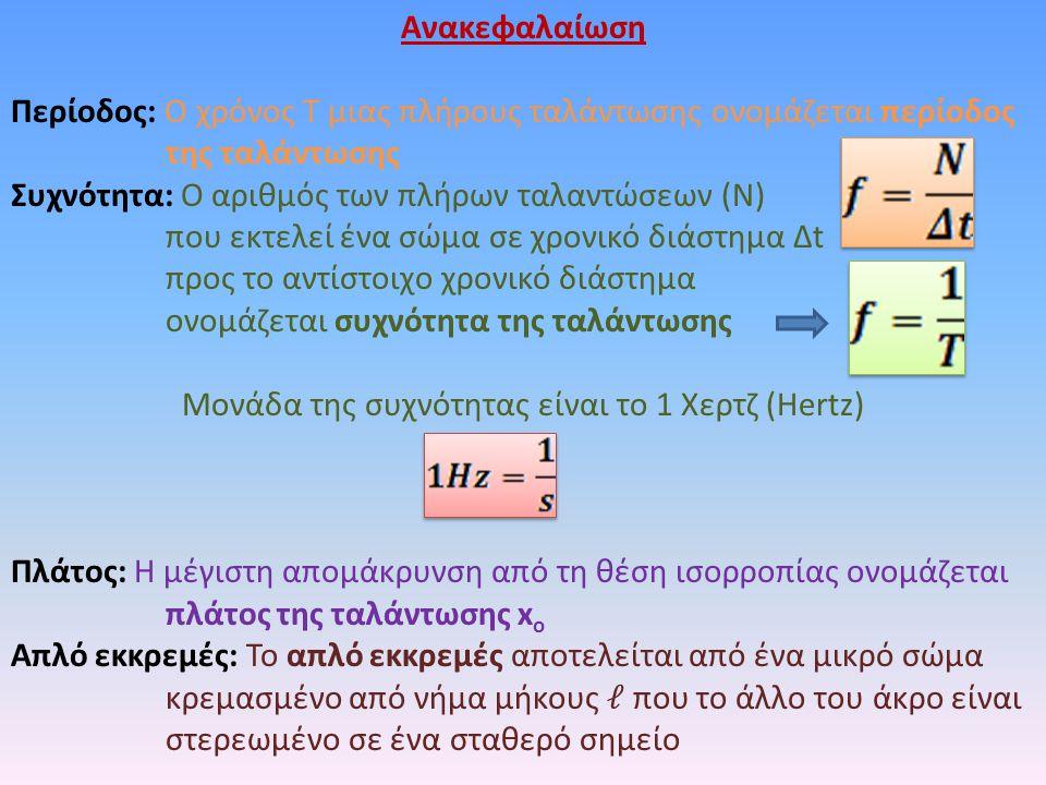 Ανακεφαλαίωση Περίοδος: Ο χρόνος Τ μιας πλήρους ταλάντωσης ονομάζεται περίοδος της ταλάντωσης Συχνότητα: Ο αριθμός των πλήρων ταλαντώσεων (Ν) που εκτελεί ένα σώμα σε χρονικό διάστημα Δt προς το αντίστοιχο χρονικό διάστημα ονομάζεται συχνότητα της ταλάντωσης Μονάδα της συχνότητας είναι το 1 Χερτζ (Hertz) Πλάτος: Η μέγιστη απομάκρυνση από τη θέση ισορροπίας ονομάζεται πλάτος της ταλάντωσης x o Απλό εκκρεμές: Το απλό εκκρεμές αποτελείται από ένα μικρό σώμα κρεμασμένο από νήμα μήκους που το άλλο του άκρο είναι στερεωμένο σε ένα σταθερό σημείο