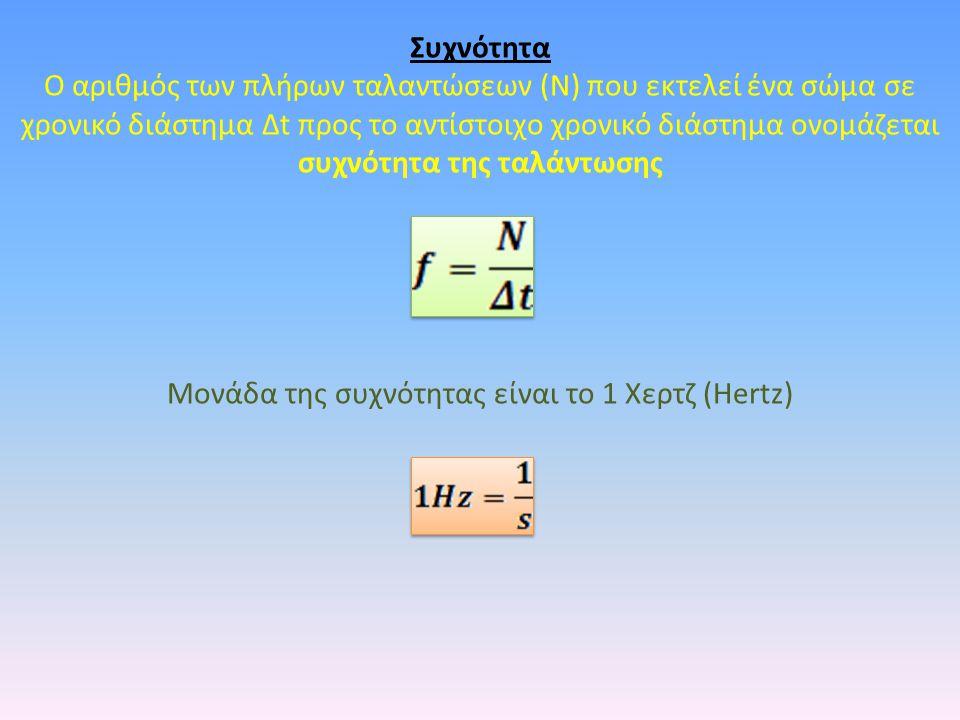 Συχνότητα Ο αριθμός των πλήρων ταλαντώσεων (Ν) που εκτελεί ένα σώμα σε χρονικό διάστημα Δt προς το αντίστοιχο χρονικό διάστημα ονομάζεται συχνότητα της ταλάντωσης Μονάδα της συχνότητας είναι το 1 Χερτζ (Hertz)
