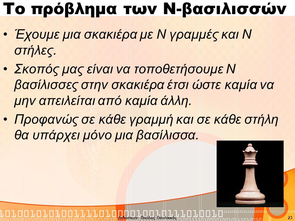 Το πρόβλημα των Ν-βασιλισσών Έχουμε μια σκακιέρα με Ν γραμμές και Ν στήλες.