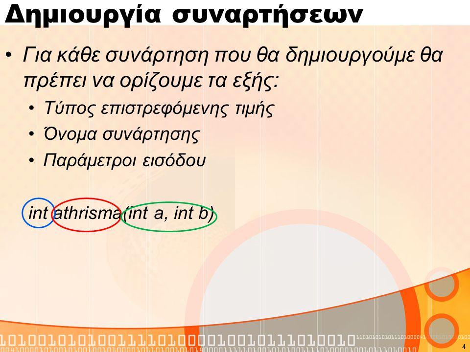 Δημιουργία συναρτήσεων Για κάθε συνάρτηση που θα δημιουργούμε θα πρέπει να ορίζουμε τα εξής: Τύπος επιστρεφόμενης τιμής Όνομα συνάρτησης Παράμετροι εισόδου int athrisma(int a, int b) 4
