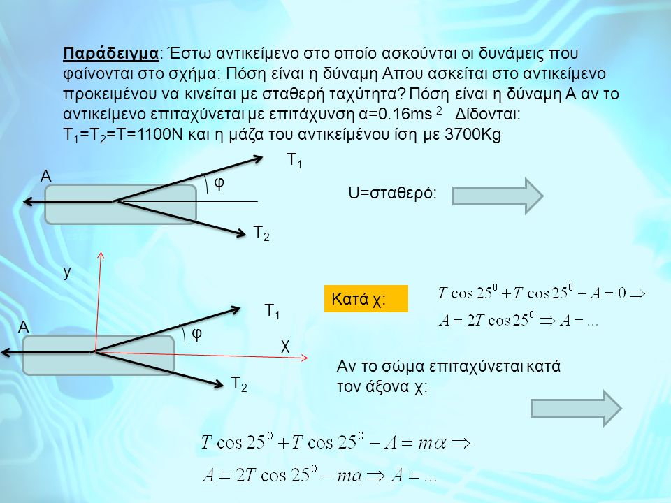 Παράδειγμα: Έστω αντικείμενο στο οποίο ασκούνται οι δυνάμεις που φαίνονται στο σχήμα: Πόση είναι η δύναμη Απου ασκείται στο αντικείμενο προκειμένου να κινείται με σταθερή ταχύτητα.