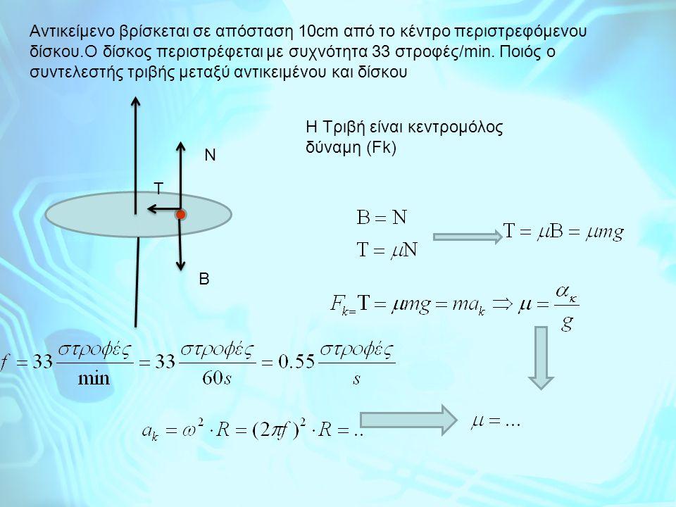 Αντικείμενο βρίσκεται σε απόσταση 10cm από το κέντρο περιστρεφόμενου δίσκου.Ο δίσκος περιστρέφεται με συχνότητα 33 στροφές/min. Ποιός ο συντελεστής τρ