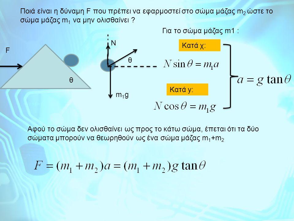Ποιά είναι η δύναμη F που πρέπει να εφαρμοστεί στο σώμα μάζας m 2 ώστε το σώμα μάζας m 1 να μην ολισθαίνει ? F Για το σώμα μάζας m1 : m1gm1g θ θ Κατά