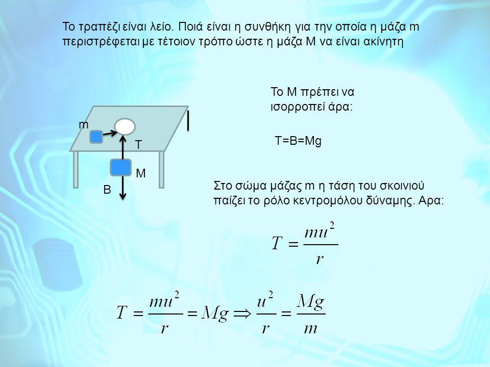 Το τραπέζι είναι λείο. Ποιά είναι η συνθήκη για την οποία η μάζα m περιστρέφεται με τέτοιον τρόπο ώστε η μάζα Μ να είναι ακίνητη m M T To M πρέπει να