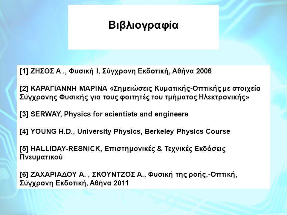 [1] ΖΗΣΟΣ A., Φυσική Ι, Σύγχρονη Εκδοτική, Αθήνα 2006 [2] ΚΑΡΑΓΙΑΝΝΗ ΜΑΡΙΝΑ «Σημειώσεις Κυματικής-Οπτικής με στοιχεία Σύγχρονης Φυσικής για τους φοιτη