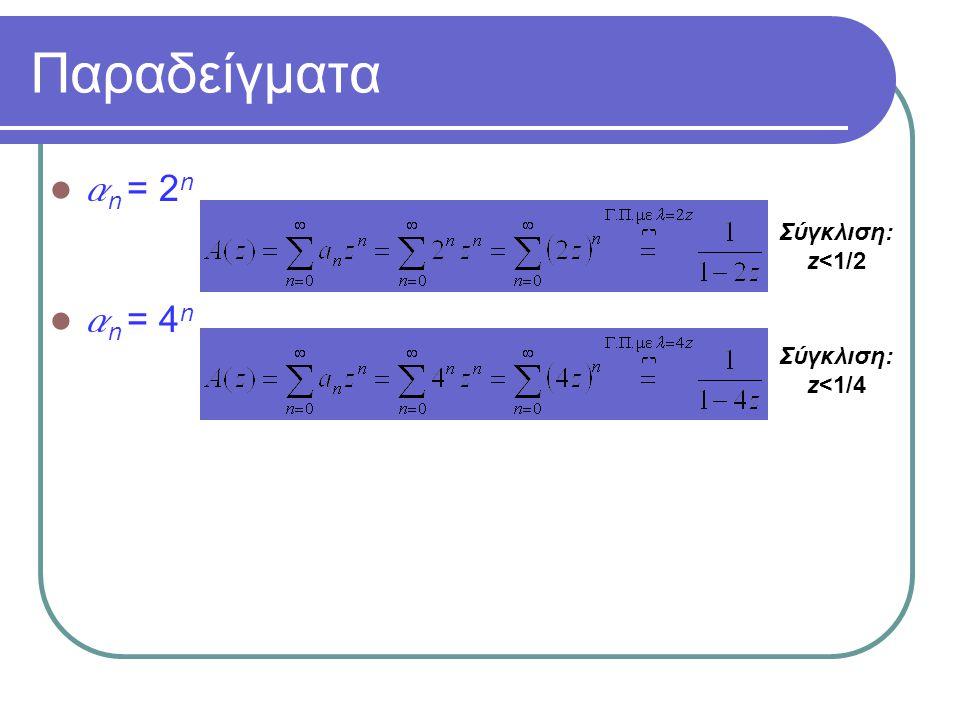 Παραδείγματα a n = 2 n a n = 4 n Σύγκλιση: z<1/4 Σύγκλιση: z<1/2