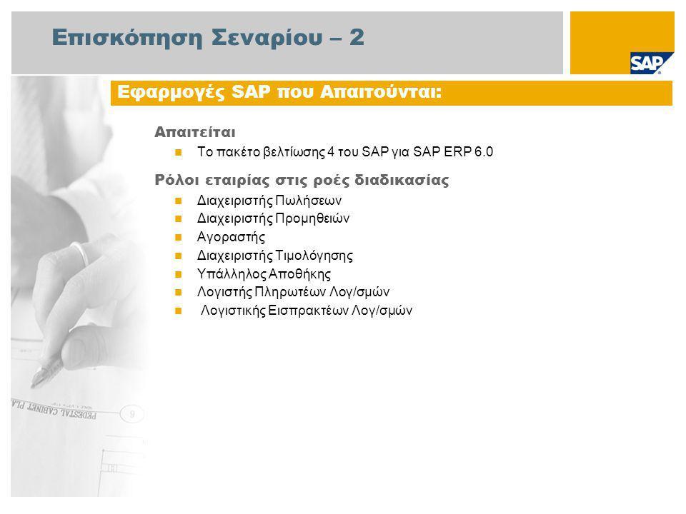 Επισκόπηση Σεναρίου – 2 Απαιτείται Το πακέτο βελτίωσης 4 του SAP για SAP ERP 6.0 Ρόλοι εταιρίας στις ροές διαδικασίας Διαχειριστής Πωλήσεων Διαχειριστής Προμηθειών Αγοραστής Διαχειριστής Τιμολόγησης Υπάλληλος Αποθήκης Λογιστής Πληρωτέων Λογ/σμών Λογιστικής Εισπρακτέων Λογ/σμών Εφαρμογές SAP που Απαιτούνται: