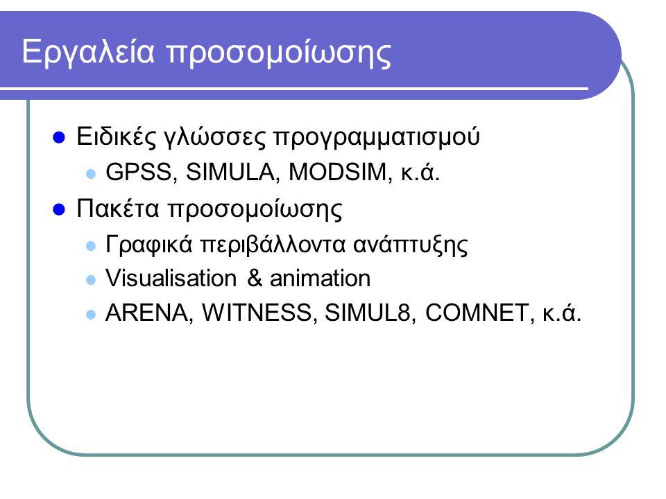 Εργαλεία προσομοίωσης Ειδικές γλώσσες προγραμματισμού GPSS, SIMULA, MODSIM, κ.ά. Πακέτα προσομοίωσης Γραφικά περιβάλλοντα ανάπτυξης Visualisation & an