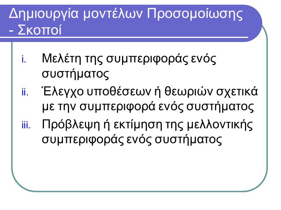 Δημιουργία μοντέλων Προσομοίωσης - Σκοποί i. Μελέτη της συμπεριφοράς ενός συστήματος ii. Έλεγχο υποθέσεων ή θεωριών σχετικά με την συμπεριφορά ενός συ