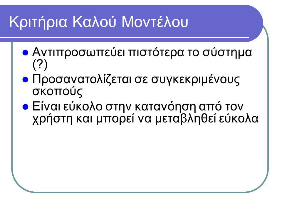 Κριτήρια Καλού Μοντέλου Αντιπροσωπεύει πιστότερα το σύστημα (?) Προσανατολίζεται σε συγκεκριμένους σκοπούς Είναι εύκολο στην κατανόηση από τον χρήστη