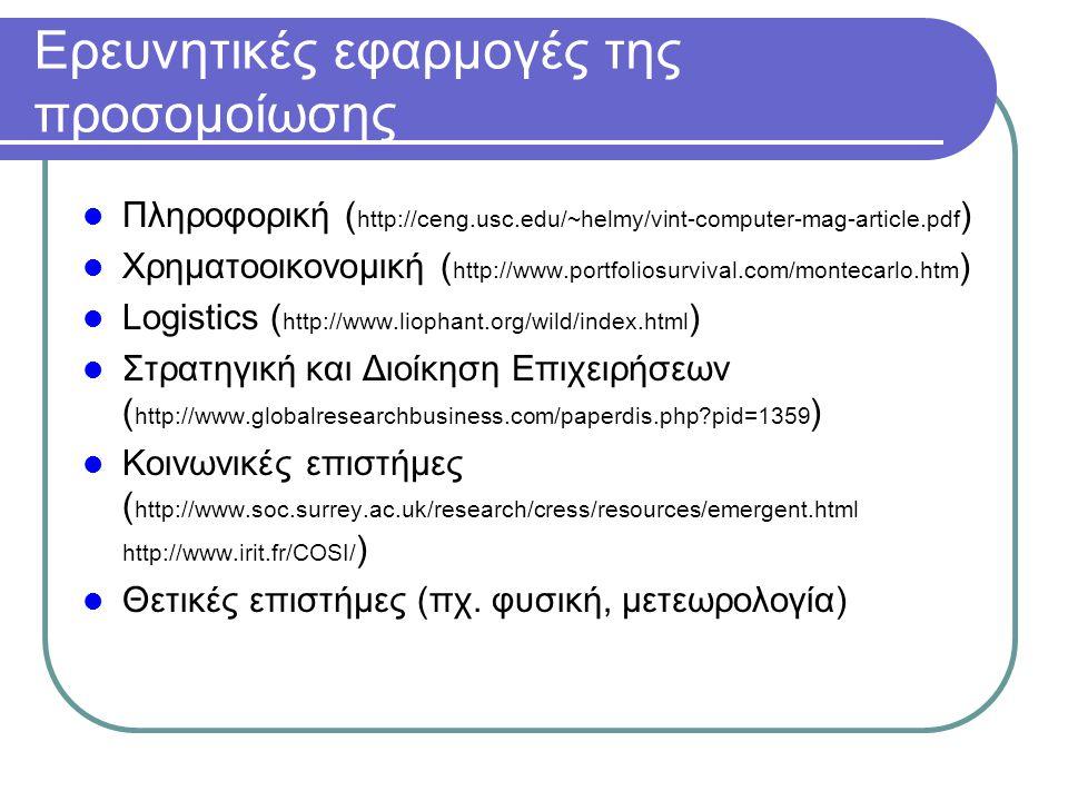 Ερευνητικές εφαρμογές της προσομοίωσης Πληροφορική ( http://ceng.usc.edu/~helmy/vint-computer-mag-article.pdf ) Χρηματοοικονομική ( http://www.portfoliosurvival.com/montecarlo.htm ) Logistics ( http://www.liophant.org/wild/index.html ) Στρατηγική και Διοίκηση Επιχειρήσεων ( http://www.globalresearchbusiness.com/paperdis.php pid=1359 ) Κοινωνικές επιστήμες ( http://www.soc.surrey.ac.uk/research/cress/resources/emergent.html http://www.irit.fr/COSI/ ) Θετικές επιστήμες (πχ.