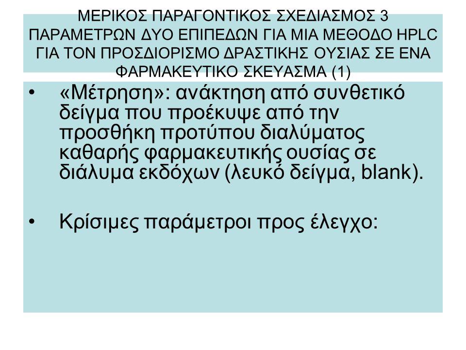 ΜΕΡΙΚΟΣ ΠΑΡΑΓΟΝΤΙΚΟΣ ΣΧΕΔΙΑΣΜΟΣ 3 ΠΑΡΑΜΕΤΡΩΝ ΔΥΟ ΕΠΙΠΕΔΩΝ ΓΙΑ ΜΙΑ ΜΕΘΟΔΟ HPLC ΓΙΑ ΤΟΝ ΠΡΟΣΔΙΟΡΙΣΜΟ ΔΡΑΣΤΙΚΗΣ ΟΥΣΙΑΣ ΣΕ ΕΝΑ ΦΑΡΜΑΚΕΥΤΙΚΟ ΣΚΕΥΑΣΜΑ (1) «Μέτρηση»: ανάκτηση από συνθετικό δείγμα που προέκυψε από την προσθήκη προτύπου διαλύματος καθαρής φαρμακευτικής ουσίας σε διάλυμα εκδόχων (λευκό δείγμα, blank).