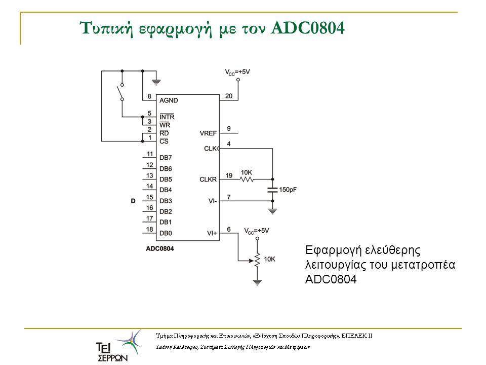 Τυπική εφαρμογή με τον ADC0804 Εφαρμογή ελεύθερης λειτουργίας του μετατροπέα ADC0804