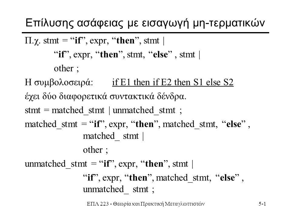 ΕΠΛ 223 - Θεωρία και Πρακτική Μεταγλωττιστών5-1 Επίλυσης ασάφειας με εισαγωγή μη-τερματικών Π.χ.
