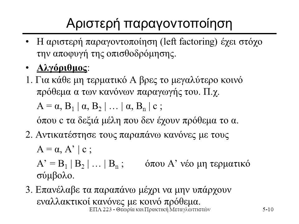 ΕΠΛ 223 - Θεωρία και Πρακτική Μεταγλωττιστών5-10 Αριστερή παραγοντοποίηση Η αριστερή παραγοντοποίηση (left factoring) έχει στόχο την αποφυγή της οπισθοδρόμησης.
