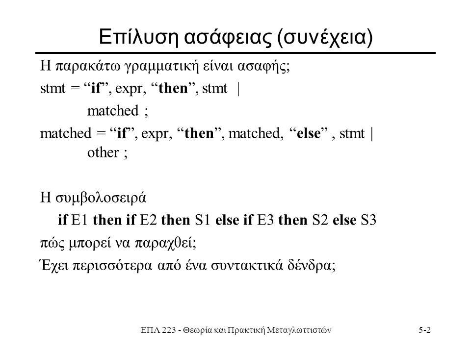 ΕΠΛ 223 - Θεωρία και Πρακτική Μεταγλωττιστών5-2 Επίλυση ασάφειας (συνέχεια) H παρακάτω γραμματική είναι ασαφής; stmt = if , expr, then , stmt | matched ; matched = if , expr, then , matched, else , stmt | other ; Η συμβολοσειρά if E1 then if E2 then S1 else if E3 then S2 else S3 πώς μπορεί να παραχθεί; Έχει περισσότερα από ένα συντακτικά δένδρα;