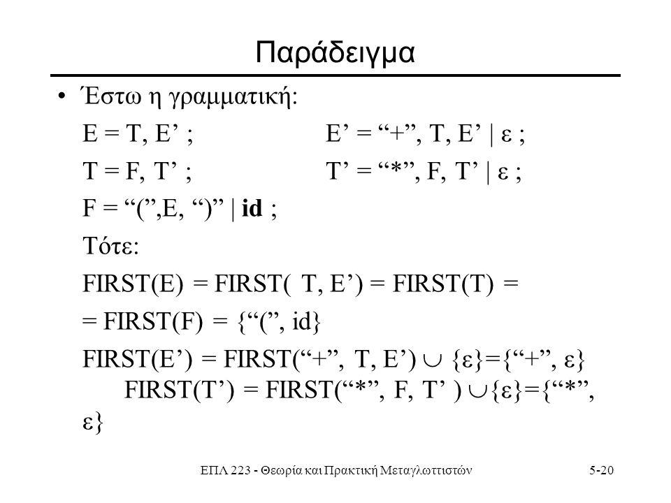 ΕΠΛ 223 - Θεωρία και Πρακτική Μεταγλωττιστών5-20 Παράδειγμα Έστω η γραμματική: Ε = T, E' ;E' = + , Τ, E' | ε ; Τ = F, T' ;Τ' = * , F, T' | ε ; F = ( ,E, ) | id ; Τότε: FIRST(E) = FIRST( Τ, Ε') = FIRST(Τ) = = FIRST(F) = { ( , id} FIRST(E') = FIRST( + , Τ, E')  {ε}={ + , ε} FIRST(T') = FIRST( * , F, T' )  {ε}={ * , ε}