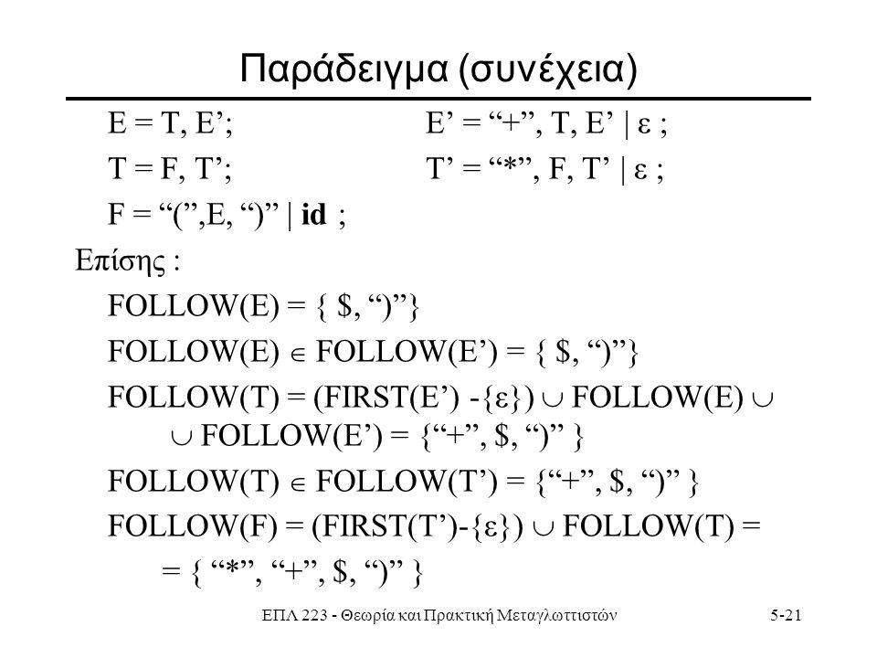 ΕΠΛ 223 - Θεωρία και Πρακτική Μεταγλωττιστών5-21 Παράδειγμα (συνέχεια) Ε = T, E';E' = + , Τ, E' | ε ; Τ = F, T';Τ' = * , F, T' | ε ; F = ( ,E, ) | id ; Επίσης : FOLLOW(E) = { $, ) } FOLLOW(E)  FOLLOW(E') = { $, ) } FOLLOW(T) = (FIRST(E') -{ε})  FOLLOW(E)   FOLLOW(E') = { + , $, ) } FOLLOW(T)  FOLLOW(T') = { + , $, ) } FOLLOW(F) = (FIRST(T')-{ε})  FOLLOW(T) = = { * , + , $, ) }