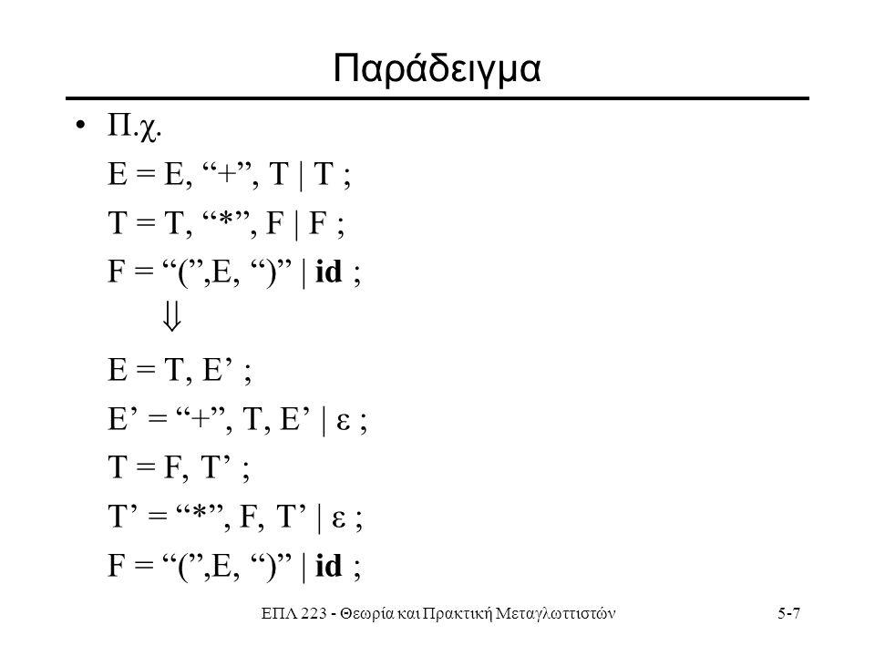 ΕΠΛ 223 - Θεωρία και Πρακτική Μεταγλωττιστών5-18 Συνάρτηση FIRST Έστω το σύμβολο Χ.