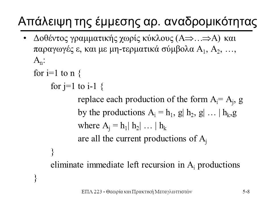 ΕΠΛ 223 - Θεωρία και Πρακτική Μεταγλωττιστών5-9 Παράδειγμα S = A, a | b ; A = A, c | S, d | ε ; i=1 i=2, j=1 S = A, a | b ; A = A, c | A, a , d | b , d | ε ;  S = A, a | b ; A = b , d , A' | A' ; A' = c , A' | a , d , A' | ε ; Σημ.: Ο αλγόριθμος εργάζεται παρόλη την παραγωγή ε.