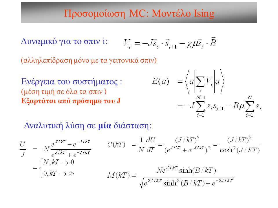 Προσομοίωση MC: Μοντέλο Ising Δυναμικό για το σπιν i: (αλληλεπίδραση μόνο με τα γειτονικά σπιν) Ενέργεια του συστήματος : (μέση τιμή σε όλα τα σπιν )