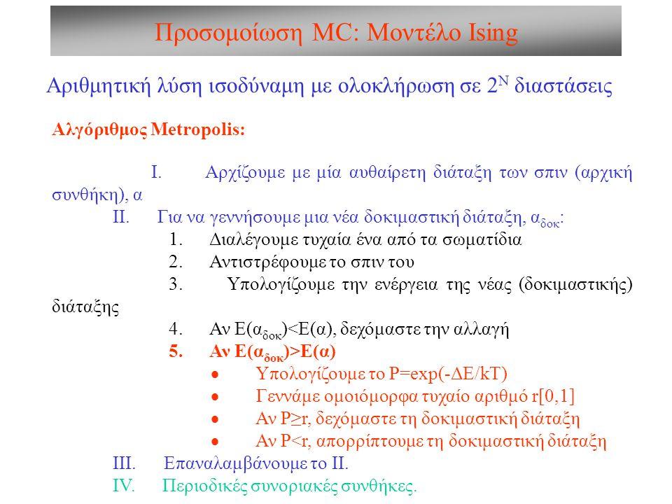 Προσομοίωση MC: Μοντέλο Ising Αριθμητική λύση ισοδύναμη με ολοκλήρωση σε 2 Ν διαστάσεις Αλγόριθμος Metropolis: I. Αρχίζουμε με μία αυθαίρετη διάταξη τ