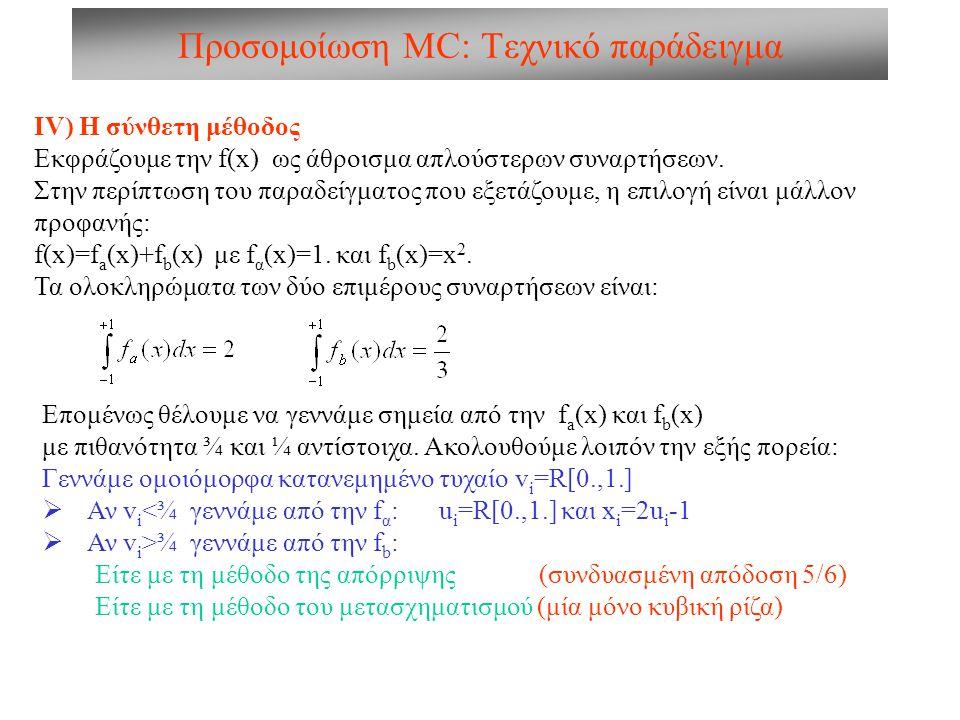 Προσομοίωση MC: Τεχνικό παράδειγμα ΙV) Η σύνθετη μέθοδος Εκφράζουμε την f(x) ως άθροισμα απλούστερων συναρτήσεων. Στην περίπτωση του παραδείγματος που
