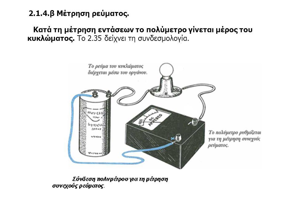 2.1.4.β Μέτρηση ρεύματος. Κατά τη μέτρηση εντάσεων το πολύμετρο γίνεται μέρος του κυκλώματος. Το 2.35 δείχνει τη συνδεσμολογία.