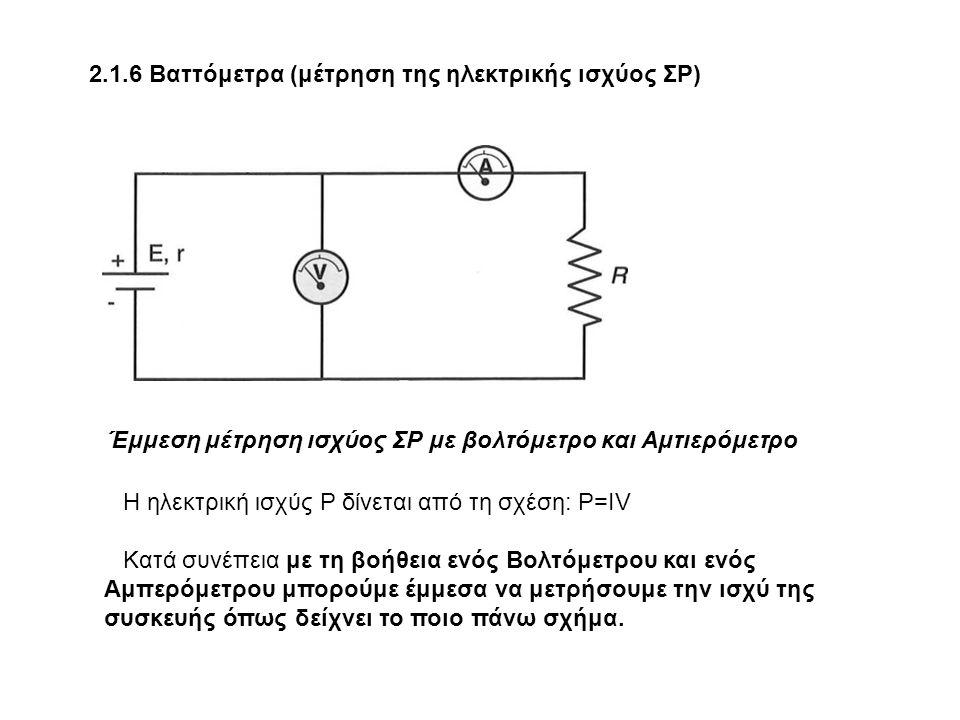 2.1.6 Βαττόμετρα (μέτρηση της ηλεκτρικής ισχύος ΣΡ) Έμμεση μέτρηση ισχύος ΣΡ με βολτόμετρο και Αμτιερόμετρο Η ηλεκτρική ισχύς Ρ δίνεται από τη σχέση: Ρ=ΙV Κατά συνέπεια με τη βοήθεια ενός Βολτόμετρου και ενός Αμπερόμετρου μπορούμε έμμεσα να μετρήσουμε την ισχύ της συσκευής όπως δείχνει το ποιο πάνω σχήμα.