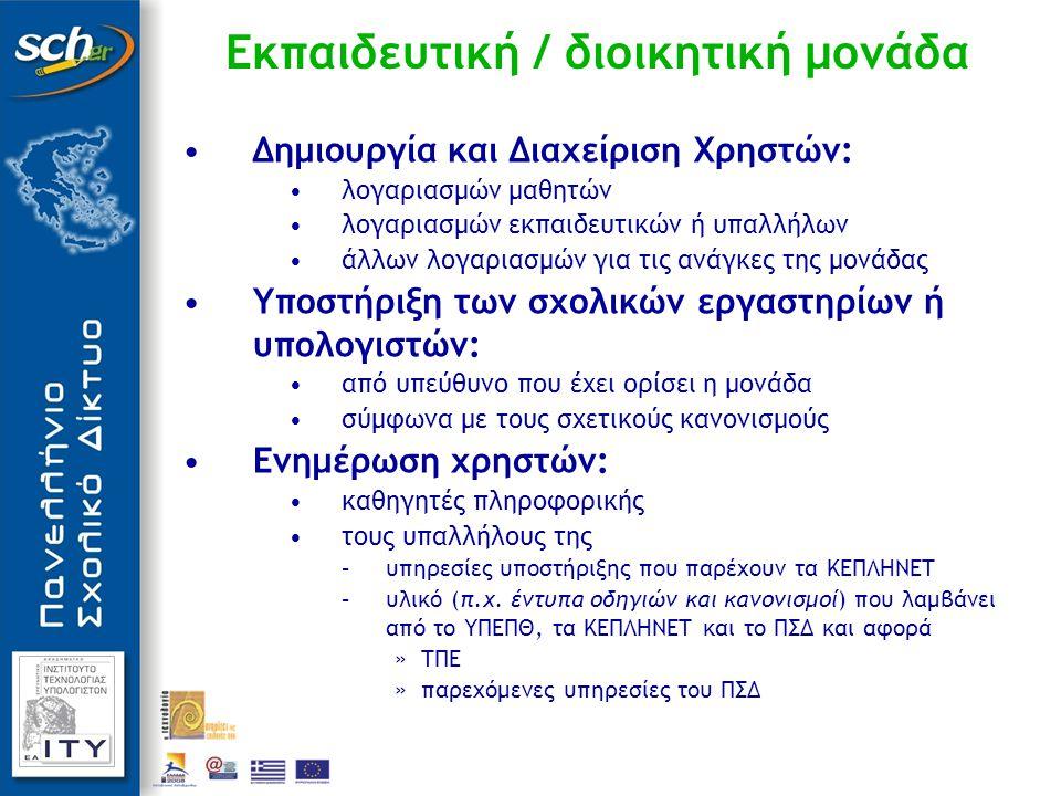 Εκπαιδευτική / διοικητική μονάδα Δημιουργία και Διαχείριση Χρηστών: λογαριασμών μαθητών λογαριασμών εκπαιδευτικών ή υπαλλήλων άλλων λογαριασμών για τις ανάγκες της μονάδας Υποστήριξη των σχολικών εργαστηρίων ή υπολογιστών: από υπεύθυνο που έχει ορίσει η μονάδα σύμφωνα με τους σχετικούς κανονισμούς Ενημέρωση χρηστών: καθηγητές πληροφορικής τους υπαλλήλους της –υπηρεσίες υποστήριξης που παρέχουν τα ΚΕΠΛΗΝΕΤ –υλικό (π.χ.