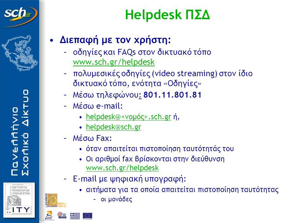 Διεπαφή με τον χρήστη: –οδηγίες και FAQs στον δικτυακό τόπο www.sch.gr/helpdesk www.sch.gr/helpdesk –πολυμεσικές οδηγίες (video streaming) στον ίδιο δικτυακό τόπο, ενότητα «Οδηγίες» –Μέσω τηλεφώνου: 801.11.801.81 –Μέσω e-mail: helpdesk@.sch.gr ή,helpdesk@.sch.gr helpdesk@sch.grhelpdesk@sch.gr –Μέσω Fax: όταν απαιτείται πιστοποίηση ταυτότητάς του Οι αριθμοί fax βρίσκονται στην διεύθυνση www.sch.gr/helpdesk www.sch.gr/helpdesk –E-mail με ψηφιακή υπογραφή: αιτήματα για τα οποία απαιτείται πιστοποίηση ταυτότητας –οι μονάδες Helpdesk ΠΣΔ