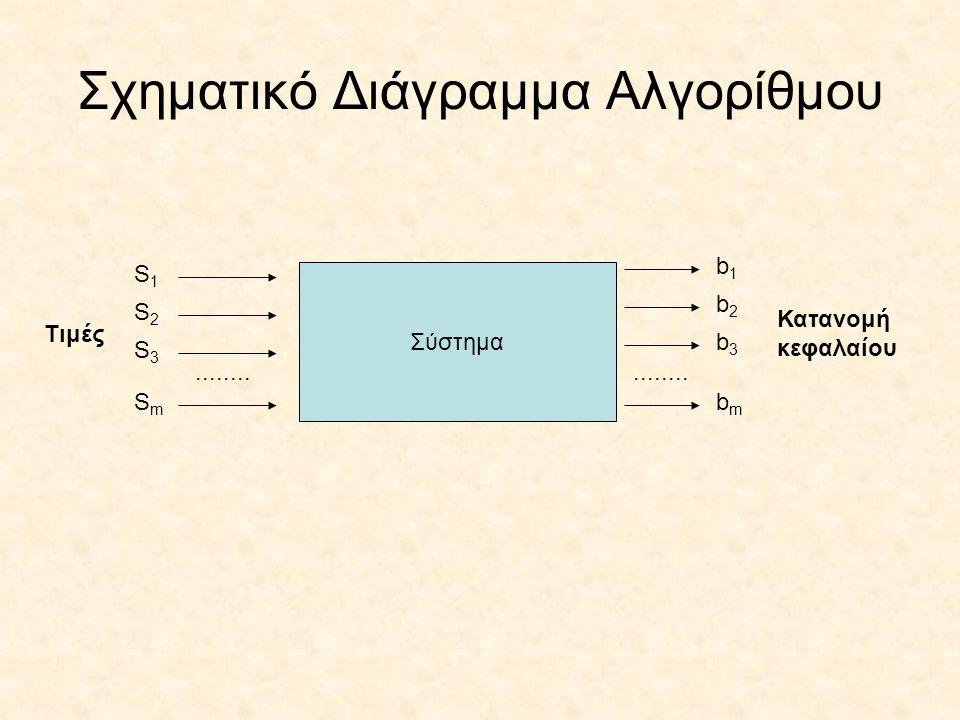 Σχηματικό Διάγραμμα Αλγορίθμου Σύστημα S1S1 S2S2 S3S3 SmSm Τιμές........ b1b1 b2b2 b3b3 bmbm Κατανομή κεφαλαίου