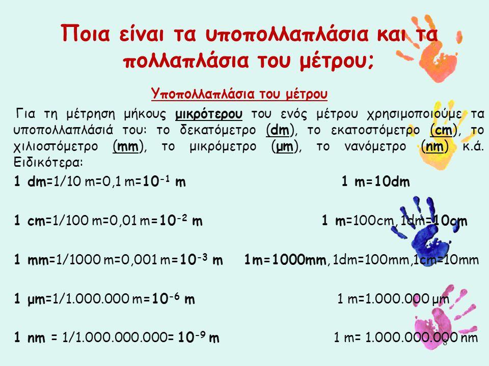 Ποια είναι τα υποπολλαπλάσια και τα πολλαπλάσια του μέτρου; Υποπολλαπλάσια του μέτρου Για τη μέτρηση μήκους μικρότερου του ενός μέτρου χρησιμοποιούμε τα υποπολλαπλάσιά του: το δεκατόμετρο (dm), το εκατοστόμετρο (cm), το χιλιοστόμετρο (mm), το μικρόμετρο (μm), το νανόμετρο (nm) κ.ά.