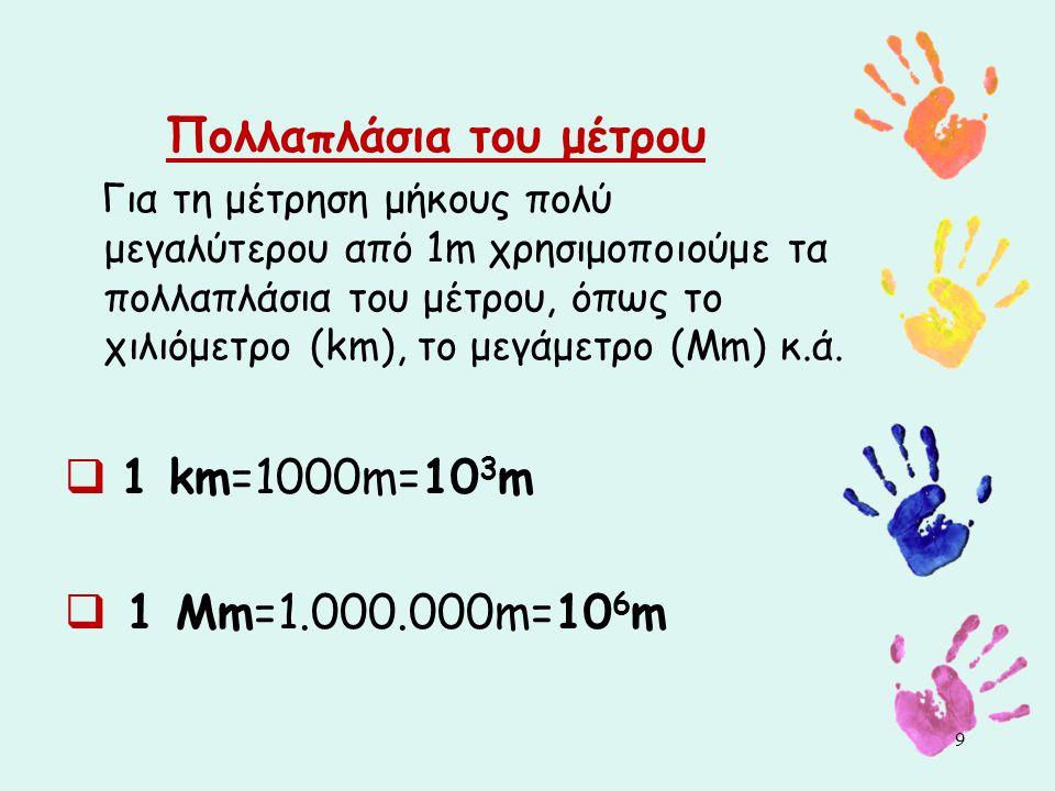 Πολλαπλάσια του μέτρου Για τη μέτρηση μήκους πολύ μεγαλύτερου από 1m χρησιμοποιούμε τα πολλαπλάσια του μέτρου, όπως το χιλιόμετρο (km), το μεγάμετρο (Mm) κ.ά.