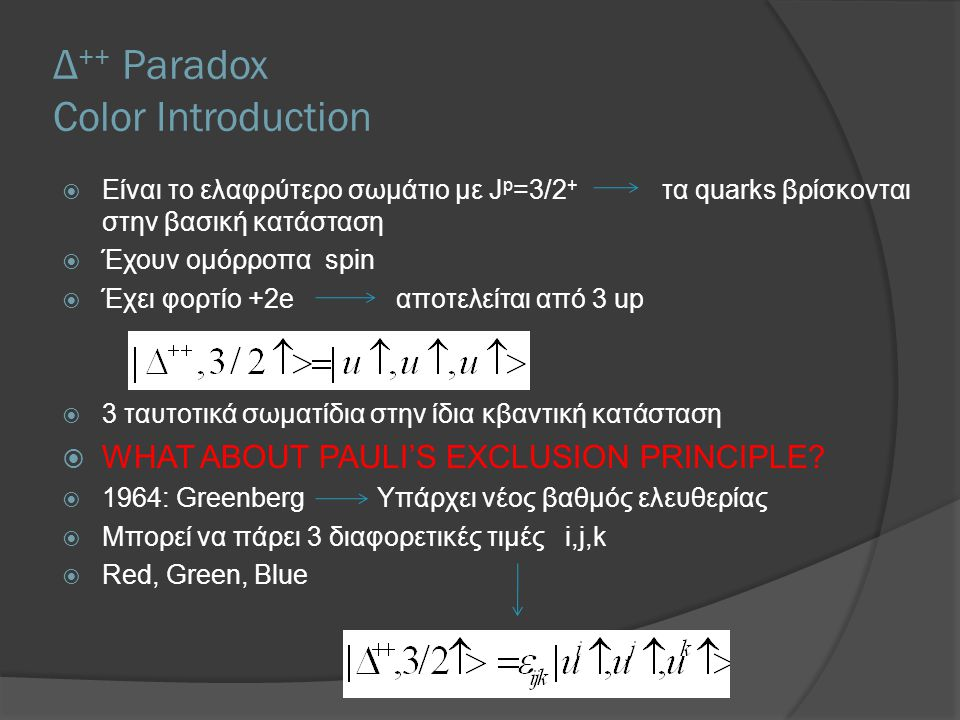 Δ ++ Paradox Color Introduction  Είναι το ελαφρύτερο σωμάτιο με J p =3/2 + τα quarks βρίσκονται στην βασική κατάσταση  Έχουν ομόρροπα spin  Έχει φο