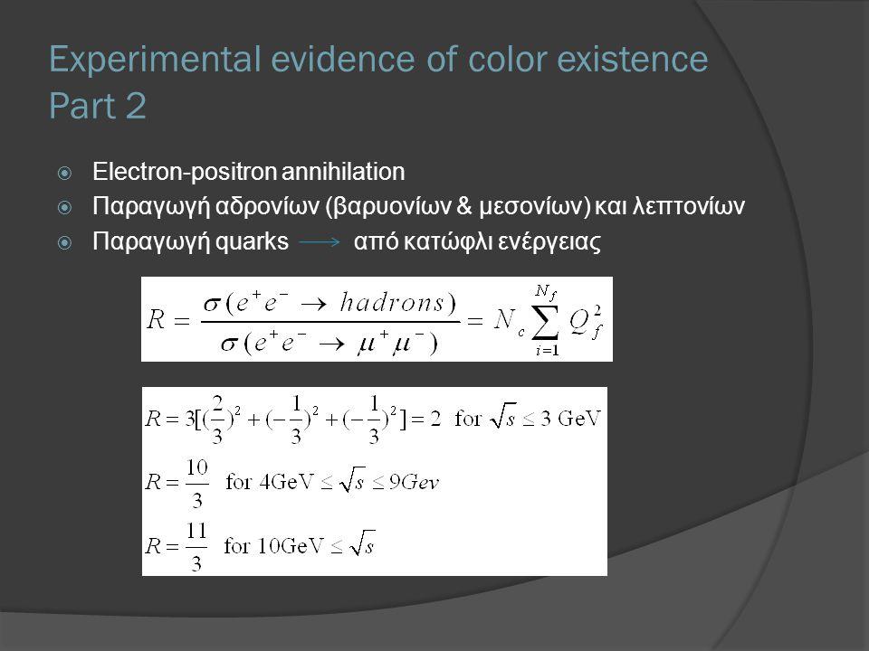 Experimental evidence of color existence Part 2  Electron-positron annihilation  Παραγωγή αδρονίων (βαρυονίων & μεσονίων) και λεπτονίων  Παραγωγή q