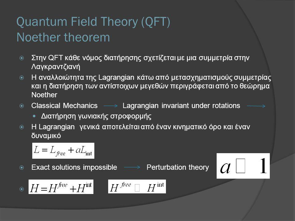 Quantum Field Theory (QFT) Noether theorem  Στην QFT κάθε νόμος διατήρησης σχετίζεται με μια συμμετρία στην Λαγκραντζιανή  Η αναλλοιώτητα της Lagran