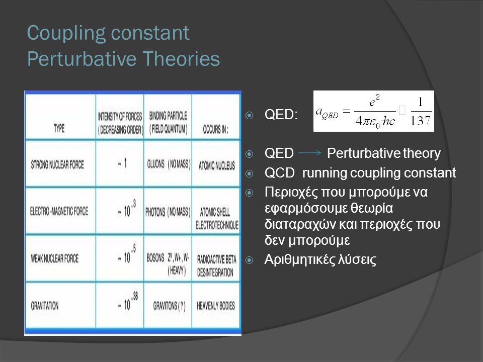 Coupling constant Perturbative Theories  QED:  QED Perturbative theory  QCD running coupling constant  Περιοχές που μπορούμε να εφαρμόσουμε θεωρία διαταραχών και περιοχές που δεν μπορούμε  Αριθμητικές λύσεις