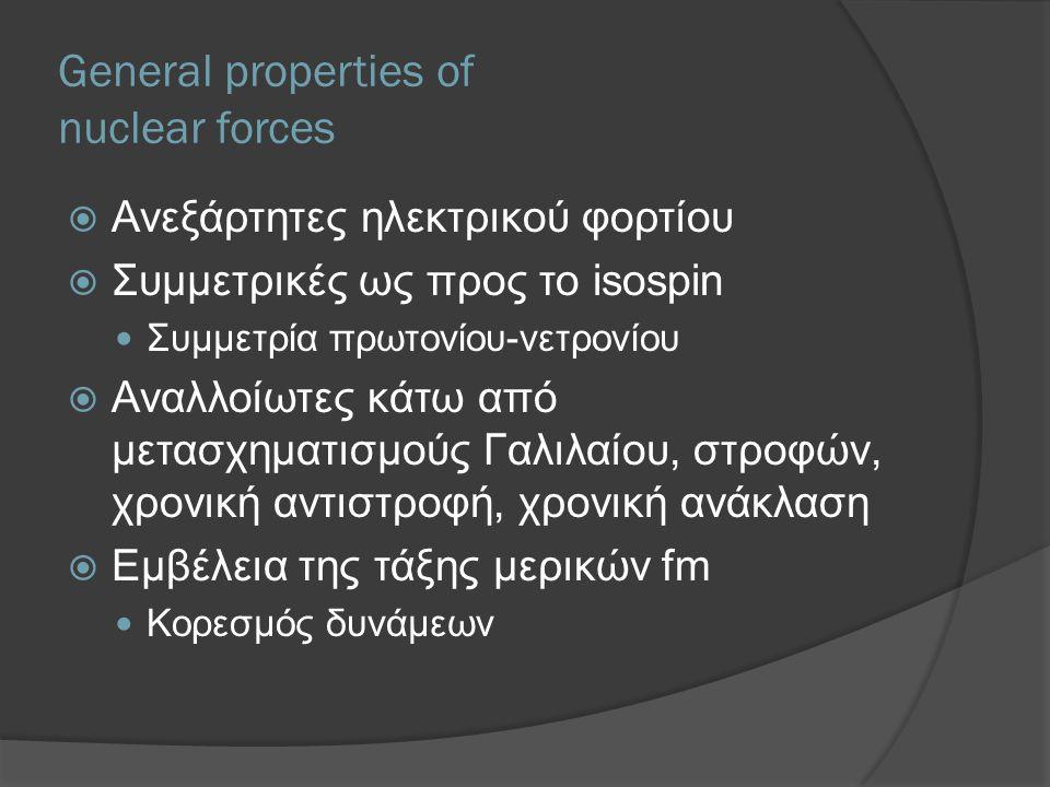 General properties of nuclear forces  Ανεξάρτητες ηλεκτρικού φορτίου  Συμμετρικές ως προς το isospin Συμμετρία πρωτονίου-νετρονίου  Αναλλοίωτες κάτω από μετασχηματισμούς Γαλιλαίου, στροφών, χρονική αντιστροφή, χρονική ανάκλαση  Εμβέλεια της τάξης μερικών fm Κορεσμός δυνάμεων