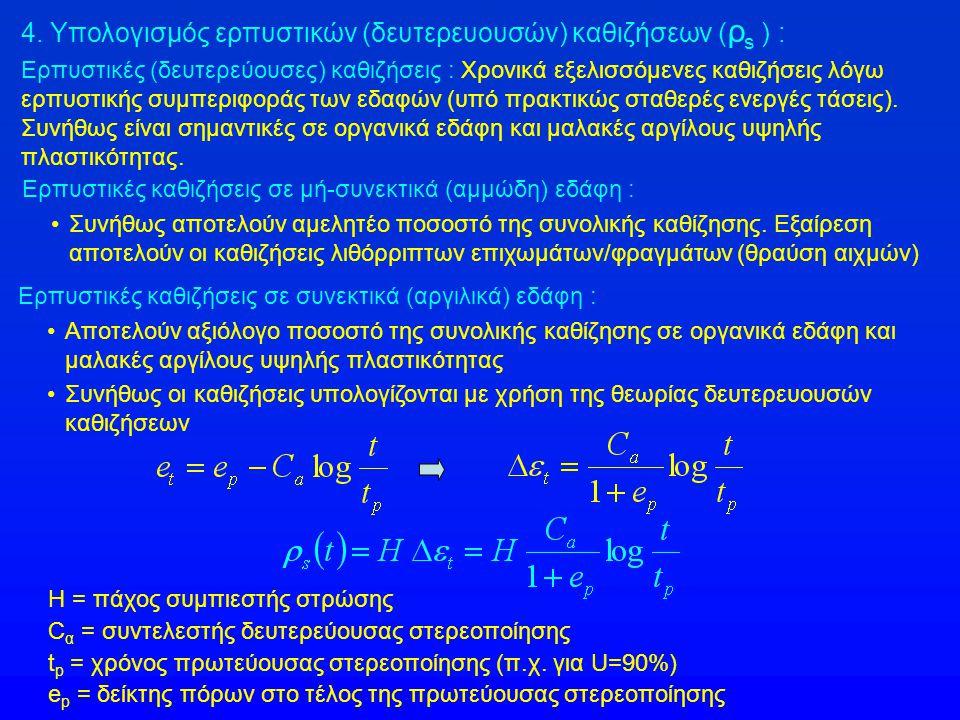 4. Υπολογισμός ερπυστικών (δευτερευουσών) καθιζήσεων ( ρ s ) : Ερπυστικές (δευτερεύουσες) καθιζήσεις : Χρονικά εξελισσόμενες καθιζήσεις λόγω ερπυστική